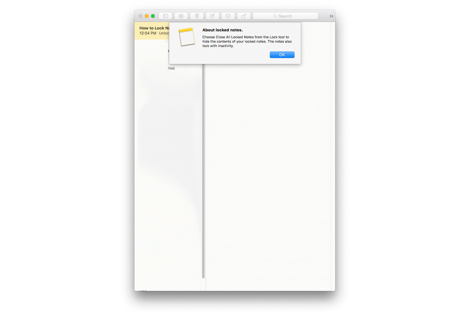 Lock Notes on Mac