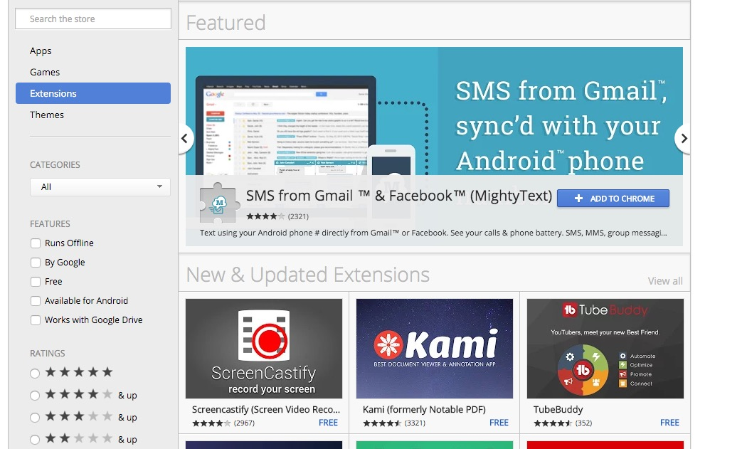 Chrome extensions in the Chrome Web Store