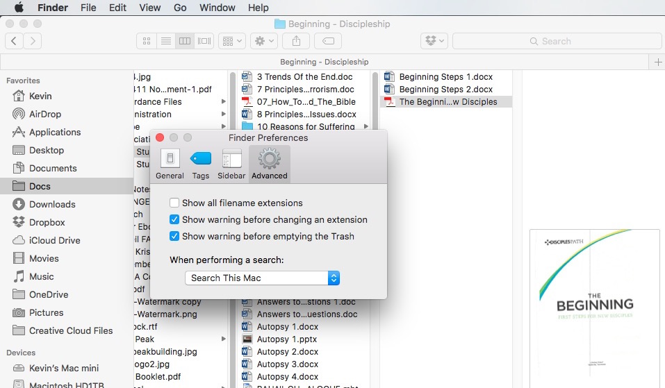 Show all filename extensions in Mac OS X