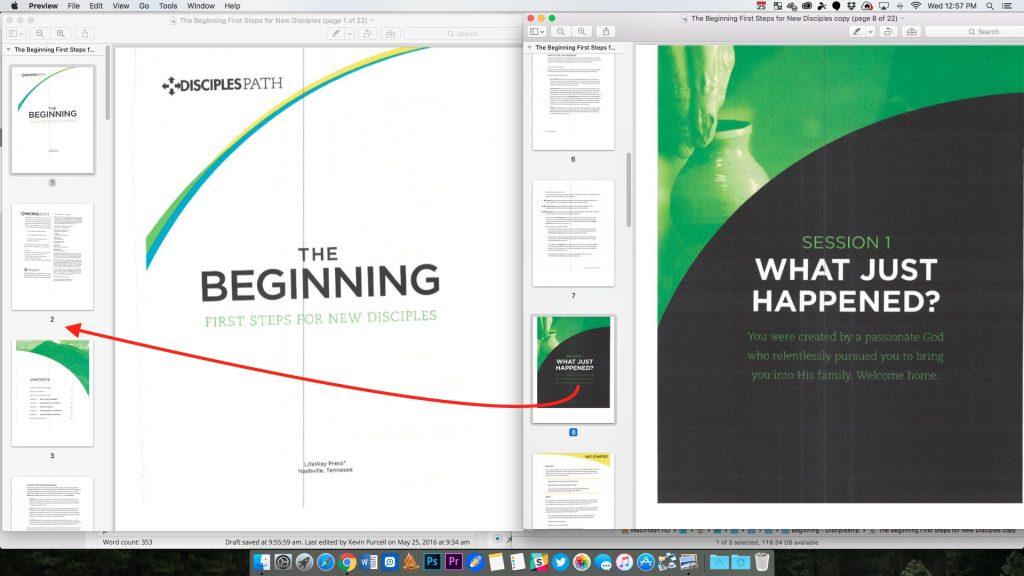 combine 2 PDF files in Preview
