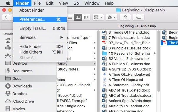 open finder preferences in os x