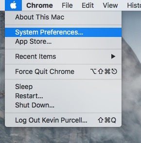 open system preferences from apple icon