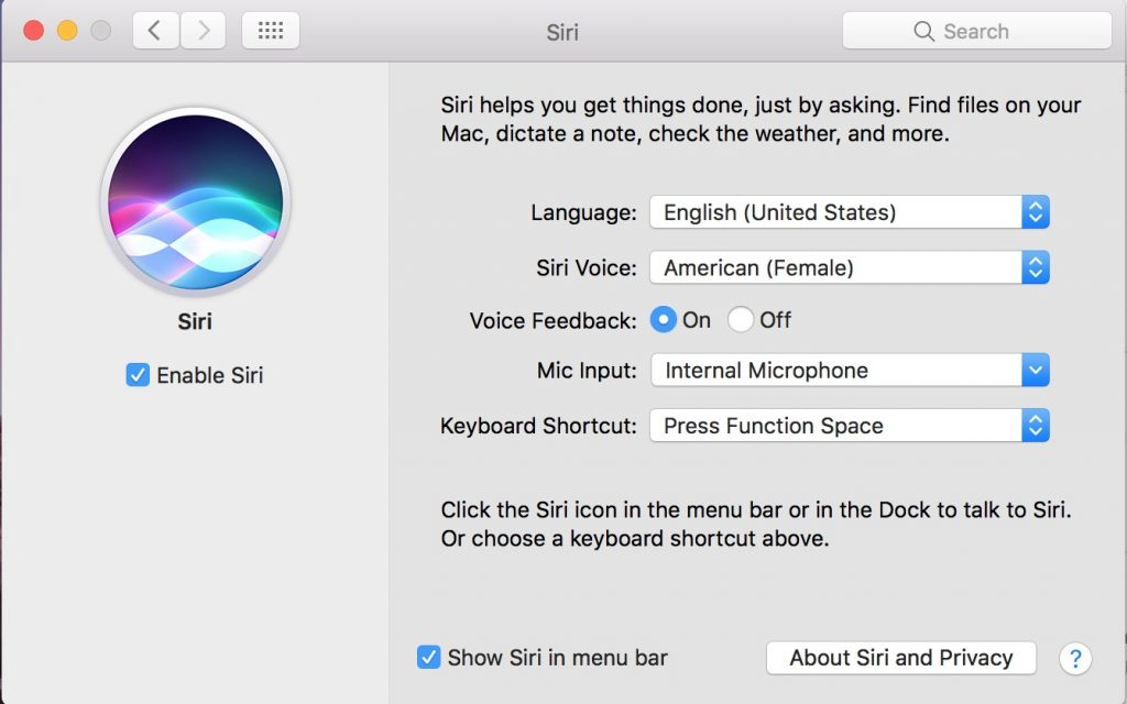 Siri on macOS System Preferences