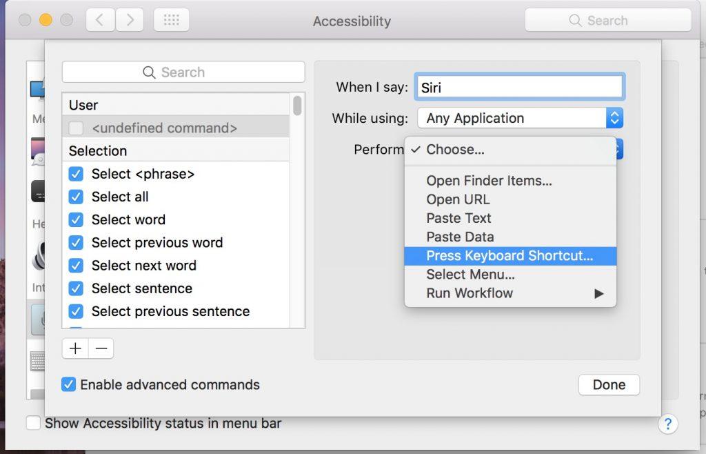add keyboard shortcut for siri on macos 10.11