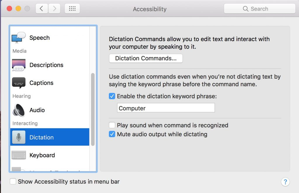 enable dictation on macos
