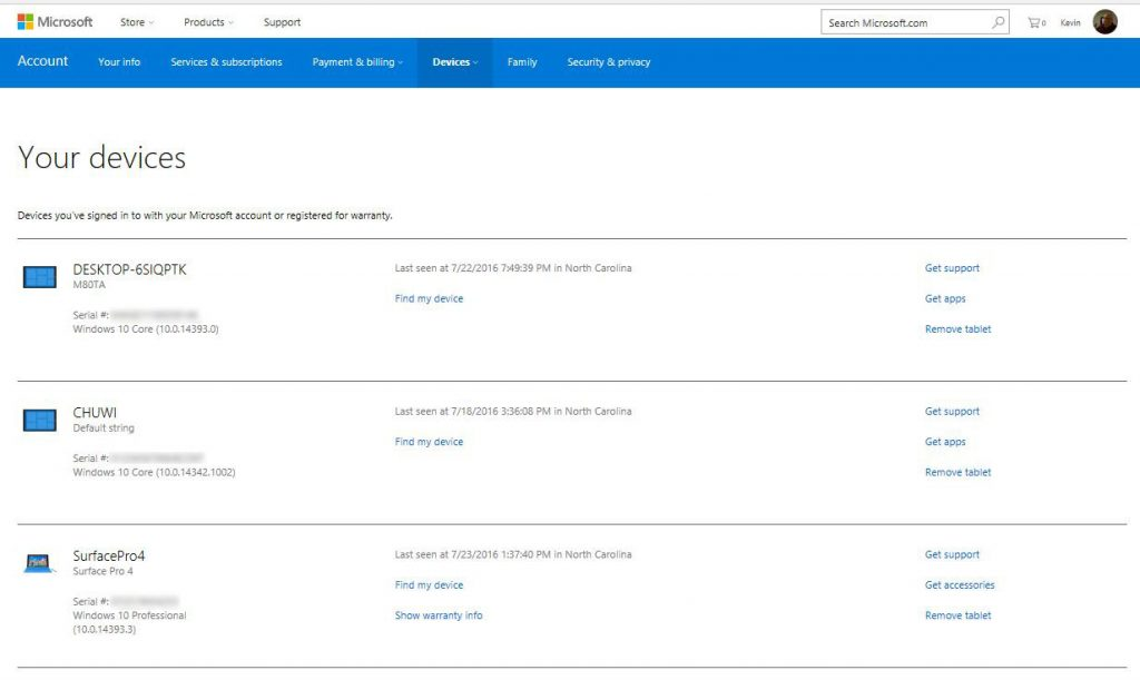 my devices on microsoft page