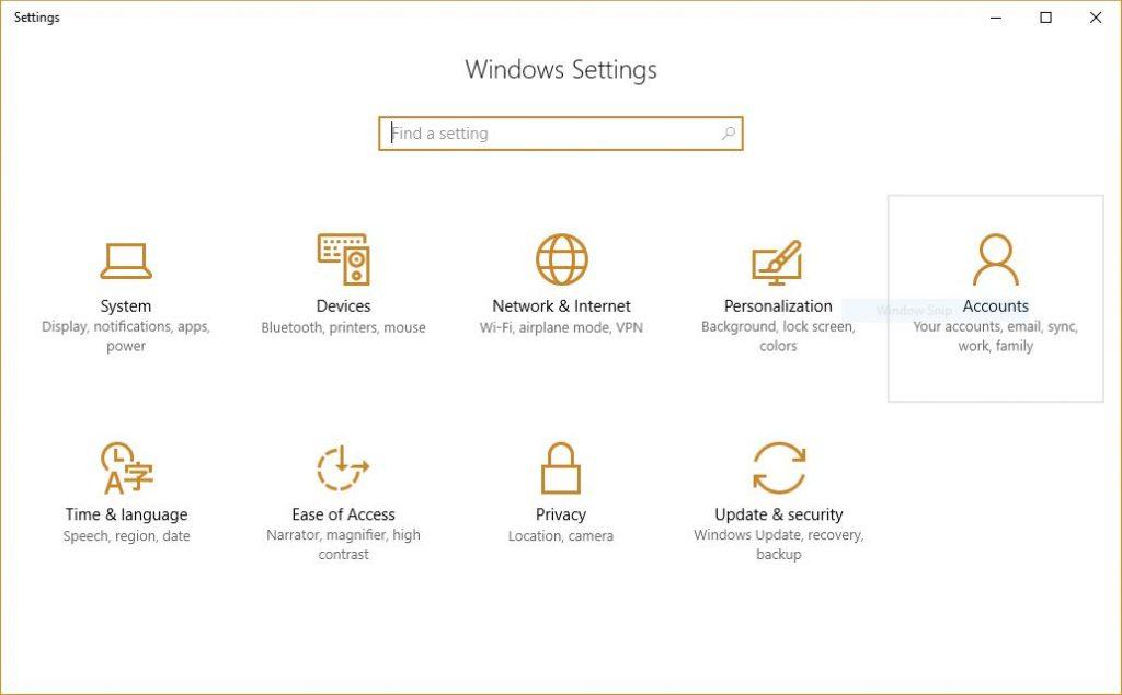 windows 10 settings screen