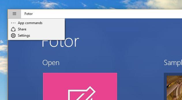 windows store app menu