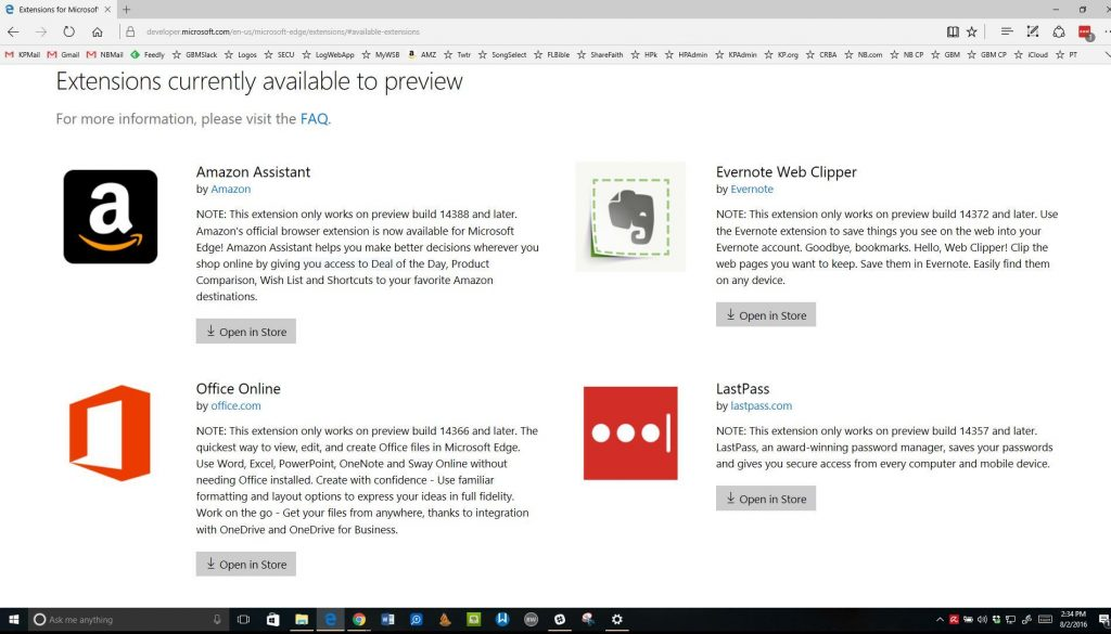 microsoft edge extensions in windows 10 anniversary update