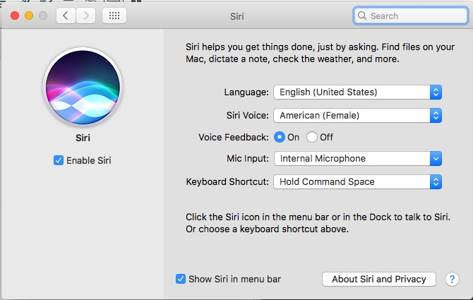 macos sierra siri preferences page in settings