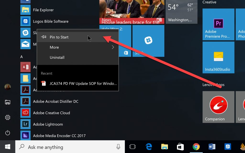 pin to start menu