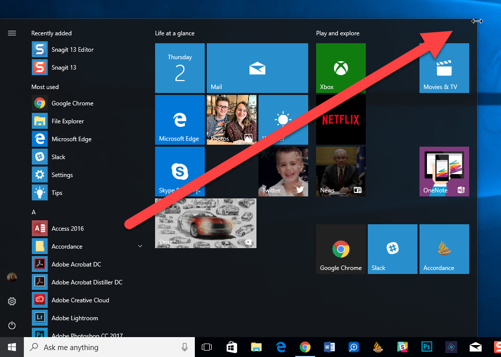 resize windows 10 start menu by dragging from the edges