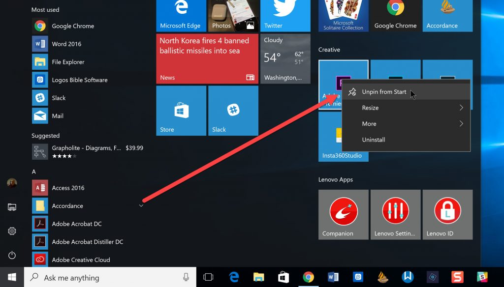 unpin from start menu