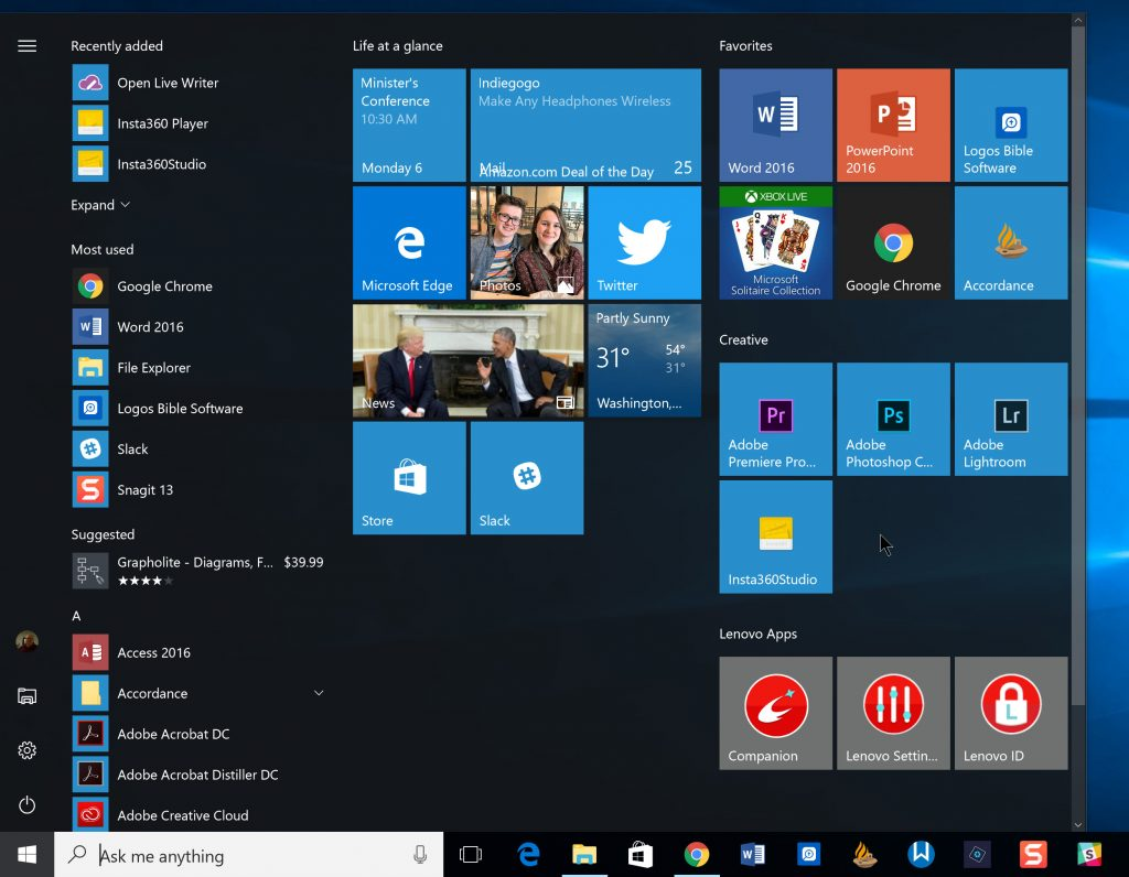 window 10 start menu