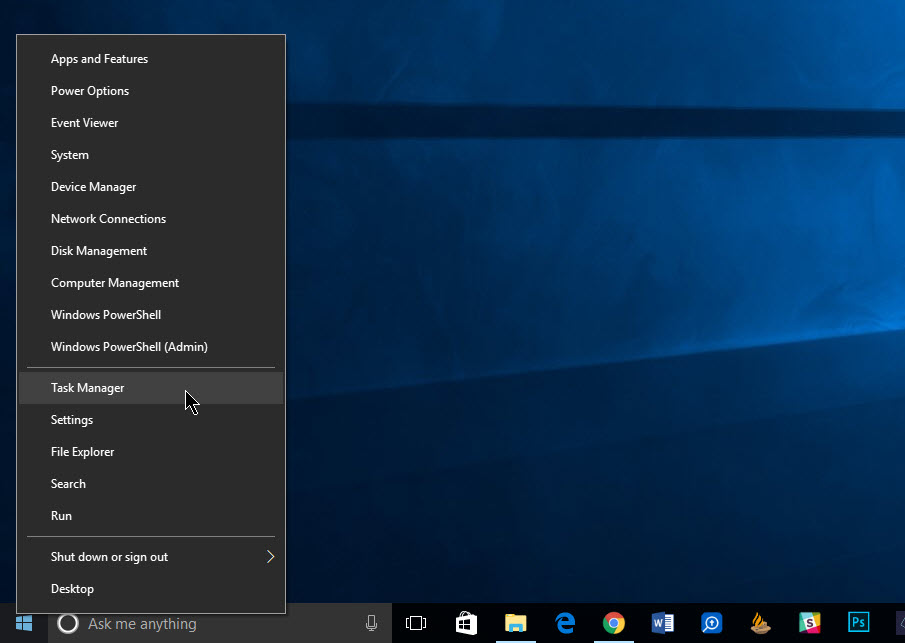 windows 10 tools from start menu right click menu