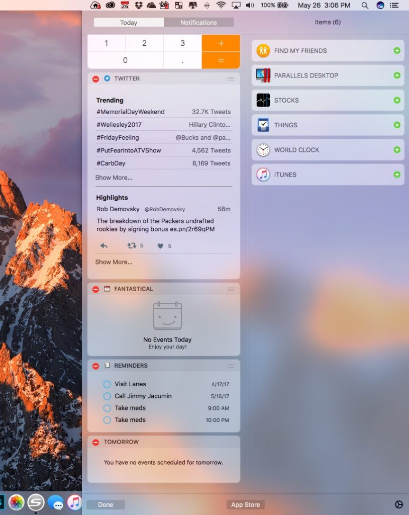 options for widgets in notification center